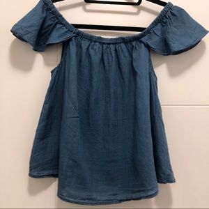 Madewell Indigo Cotton Off-the-Shoulder Top XS